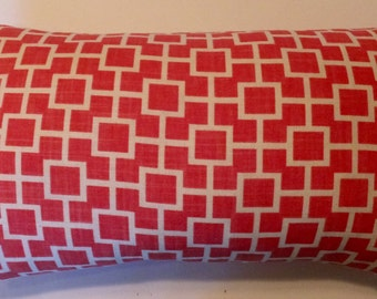 Coral Linen Geometric  Lumbar Throw Pillow Cover -23 x 12 3/4- Handmade-Robert Allen Designer Decorator Modern June- Home Decor- March Finds