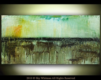 Original Abstract Art Large Textured Glossy Aqua Brown Modern Contemporary Oil Painting by Sky Whitman