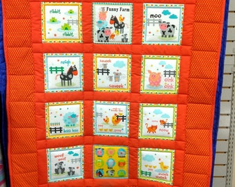 Funny Farm Child's Quilt. Crib quilt blanket wallhanging baby boy girl child red animals cow horse dog cat pig sheep frog mouse duck 4818