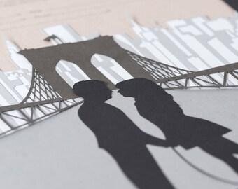 Papercut Ketubah - Brooklyn - Modern Jewish Wedding - Eco-friendly - Personalized Silhouettes
