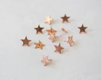 Rose Gold Star Metal Thumb Tacks - 12 pc