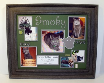 Personalized Cat Memorial Collage - 11x14 UNFRAMED Mat - ANY COLORS You Choose - 1 - 7 photo spots