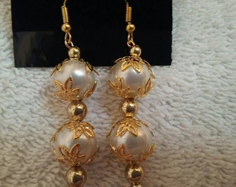 White And Gold Beaded Wire Earrings