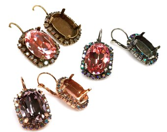Oval 18x13mm Bezel Dangle Earrings For Setting with AB Rhinestones Fit Swarovski 4120 Crystal, Choose Your Finish (LBOV18ABV)