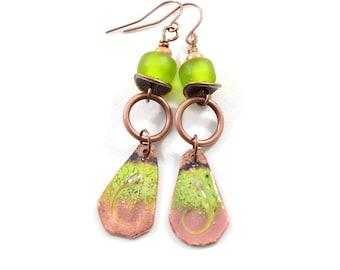 Handmade Earrings, Enameled Earrings, Green and Pink Earrings, Copper Earrings, Artisan Earrings, Boho Earrings, OOAK, AE090