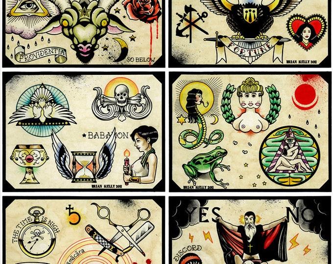 The Occult Tattoo Flash Set 7 by Brian Kelly. 6 sheets.
