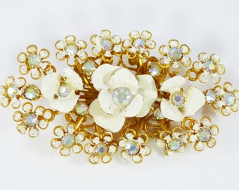 Oval Bed of Flowers Brooch White Enamel Roses Surrounded by Daisies Clear Rhinestone Mid Century Vintage 1950s 1960s Large Flowers Pin