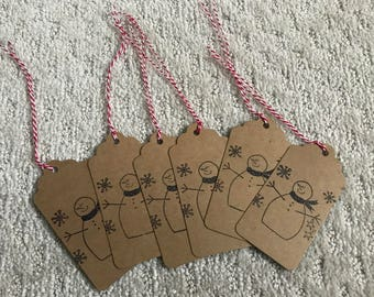 Set of Snowman Tags
