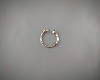 Septum ring Sterling Silver septum Skinny fake Septum ring Skinny fake Septum ring ring Non piercing Fake piercing septum ring 18g