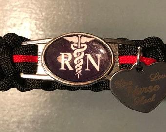 "Nurses Paracord Bracelet, RN medical themed, ""Nurses Live Love Heal"""