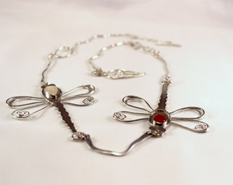 Silver Necklace with Dragonflies