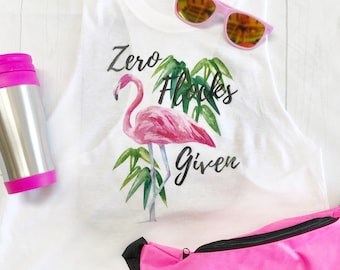 Zero Flocks Given, Flamingo Tank Top, Watercolor Flamingo, Tropical Clothing