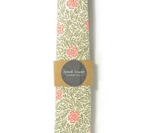 Orange green flowers necktie - Wedding Mens Tie Skinny Necktie - Laid-Back necktie