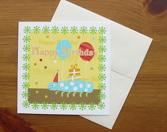 Handmade birthday card, set of four: Happy Birthday Bug