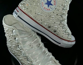 Wedding Converse- Bridal Sneakers- Bling & Pearls Custom Converse Sneakers- Bridal Chuck Taylors- Wedding Sneakers- Converse hochzeit- Bride
