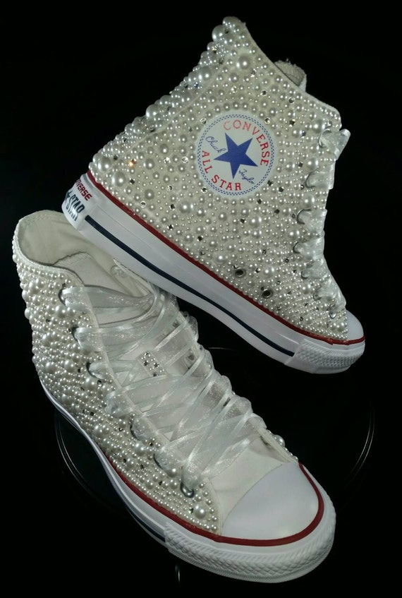 Wedding Converse Bridal Sneakers Bling & Pearls Custom