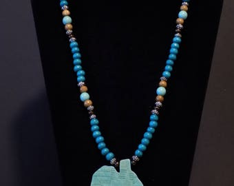 Turquoise and brown beaded Afraka necklace