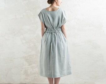 Long linen skirt, Dove grey skirt with elastic, Light grey linen skirt, Linen women's clothing, Custom color skirts, Midi skirt with pockets