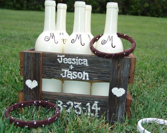 Rustic Ring Toss Game,brown,white,reclaimed barn wood,rustic wedding,wedding reception,wedding kids game,childrens game,childrens activity
