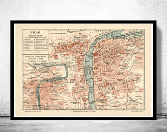 Old Map of Prague 1894  Czech Republic