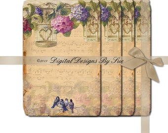 INSTANT DOWNLOAD - hydrangea and birds - Collage Sheet - Printable Download - Gift Tags - Scrapbook