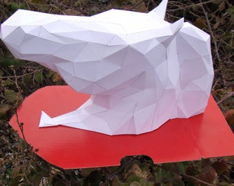 LOW POLY Horse Head Vucephalus Hippo