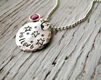 Personalized Believe in yourself Necklace, Inspirational, READY TO SHIP, Handstamped Sterling Silver, Birthstone, Inspirational