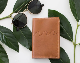 Wave Design Brown Leather Passport Cover, Leather Travel Accessory, Passport Wallet, Graduation Gift, Personalized Gift
