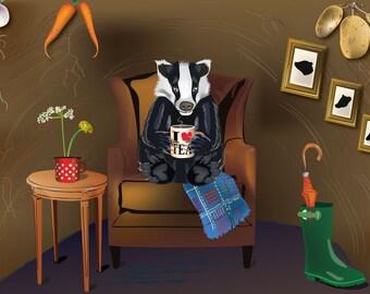 Badger Loves Tea A3 Digital Print