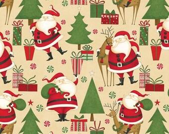 Wilmington Prints - Peppermint Santas by Debbie Mumm - Structured Santas - Tan - Fabric by the Yard 67530-237