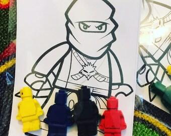 Ninja inspired crayon favors  and coloring sheets / birthday party favors // birthday crayons // homegrowncrayons // bulk lot // crayon