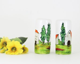 Salt and pepper shakers - Hand painted ceramic shakers - Village Provencal collection