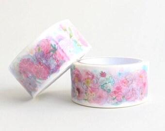 FLOWER WATERCOLOR Washi Tape | Illustrated Washi Tape | Korean Washi Tape | Planner Sticker | Deco Tape | Scrapbooking | DIY | Japanese Tape
