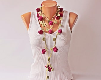 CROCHET lariat necklace jewelry  -Crochet flower lariat  necklace jewelry/crochet pendant / crochet necklace
