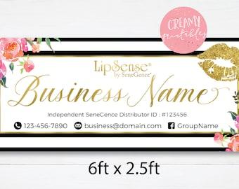 LipSense Banner 6x2.5 ft, lipsense Banner, Lipsense banner sign, banner blue, LipSense SeneGence Distributor, Digital File,