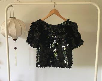 Black fish scale sequin top