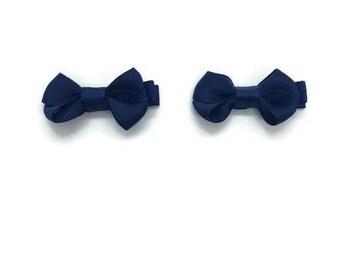 Navy Blue Little Girls Bows