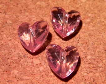 a faceted translucent 12 mm - pink - PF50 10 hearts