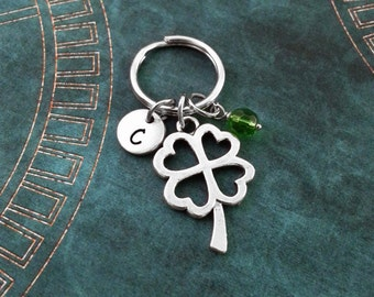 Four Leaf Clover Keychain, Personalized Keyring, St. Patrick's Day Keychain Good Luck Charm Green Gem Keyring St. Patty's Lucky Keychain