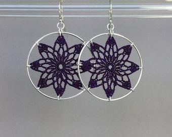 Tavita doily earrings, purple hand-dyed silk thread, sterling silver