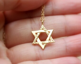 Sterling silver Magen David - Star of david necklace, small silver star of david necklace, Gold Magen david necklace