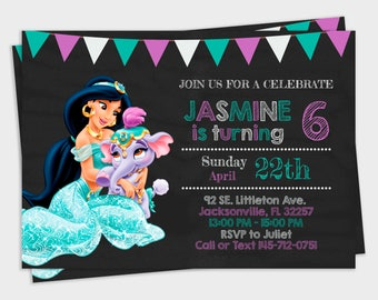 Printable Jasmine Birthday Invitations ~ Jasmine invitation etsy