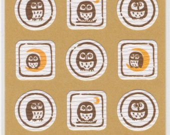 Owl Japanese Washi Stickers - Reference A4684