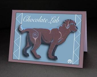 "Chocolate Lab 4.25"" x 6"" Blank Greeting Card"