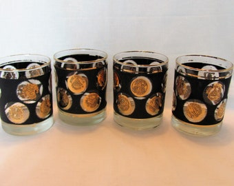 Libby On The Rocks Barware / Black and gold Coin Design