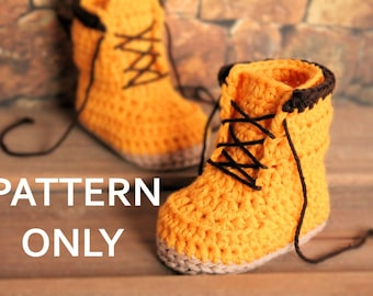 "Crochet PATTERN boots for baby boys fall booties ""Woodsman"" Construction Boot Crochet Pattern, Yellow,  PATTERN ONLY"