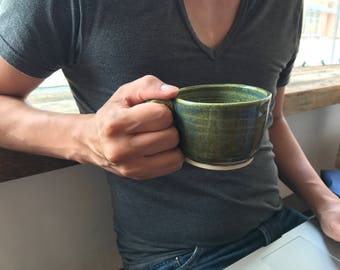 Unique pottery mug, green pottery mug, stoneware mug, blue green ceramic mug, gift for him, teacher mug, pottery mug, coffee mug, tea time