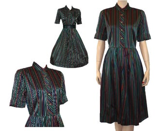 Striped Delight - Vintage 1960's Satin Day Dress - Small