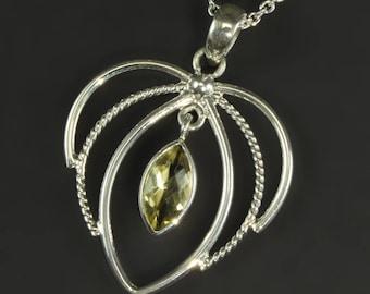 925 silver lemon quartz necklace pendant