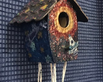 """Space Rockets Hand painted 4"""" Birdhouse/Wind chime"""